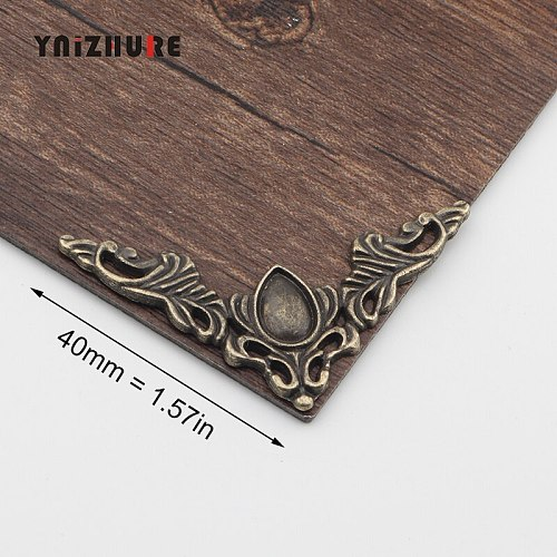 40*40mm 4Pcs Filigree Triangle Flower Wraps Cabochon,Ancient Bronze Tone Corner,Flatback Metal Embellishments Scrapbooking