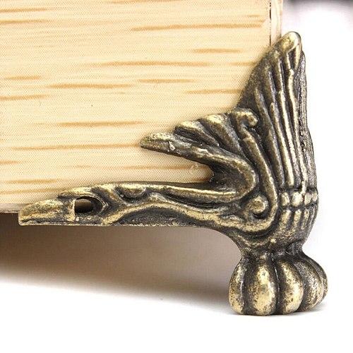 4PCS 42x30mm Antique Wood Box Feet Leg Corner Protector Triangle Rattan Carved Decorative Bracket For Furniture Hardware