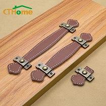 Leather Handle Bag Handle Drawer Door Knob Brown Black Furniture Handle Hardware Decoration Zinc Alloy Cabinet Dresser Handle