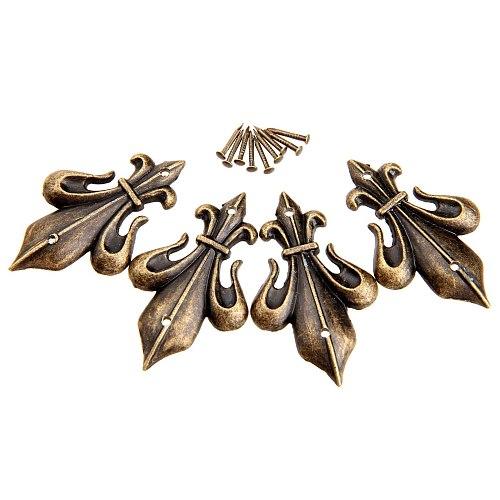4Pcs Antique Brass Furniture Decorative Corner Brackets Jewelry Box Wood Case Feet Leg Vintage Metal Corner Protector with Screw