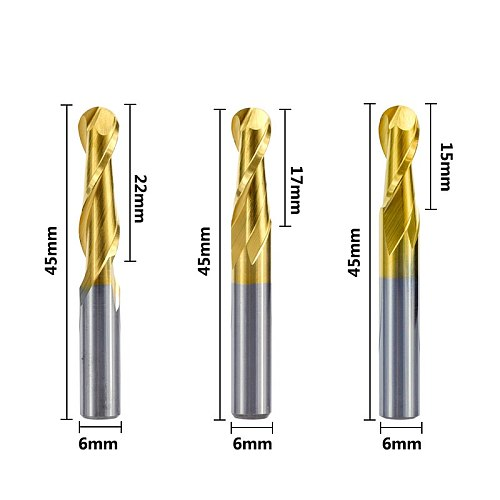 1pc 6mm Shank Ball Nose End Mill 2 Flute Spiral End Milling Cutter Tungsten Carbide CNC Router Bit Engraving Bit 15/17/22mm