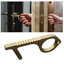 1Pc Hygiene Hand Antimicrobial Brass Edc Door Opener Portable Elevator Tool Door Handle Key For Home non contact Safety Tools
