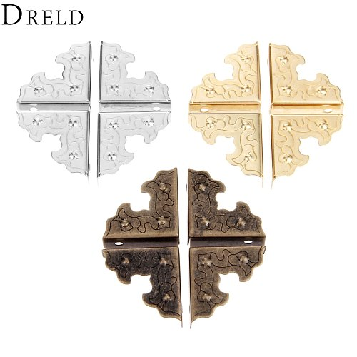 DRELD 10Pcs Antique Furniture Metal Crafts Jewelry Box Corner Foot Wooden Case Corner Protector Decorative Corner 25mm