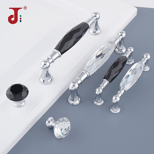96/128mm Silvery Long Crystal Handle Dresser Zinc Alloy Knobs Drawer Wardrobe Handles For Cabinet Kitchen Pull Cupboard Knob