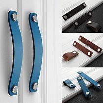 Handmade Leather Pull Handle Europe Style Soft Minimalist Door Cupboard Drawer Kitchen Cabinet Dresser Knobs Furniture Hardware