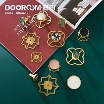 Dooroom Brass Furniture Handles Shell Simple Nordic Pastoral Wardrobe Dresser Knobs Cupboard Cabinet Drawer Round Colorful Pulls