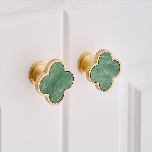 Four Leaf Clover Brass Door Knobs and Handles for Kitchen Cabinet Cupboard European Furniture Handles Drawer Pulls Green