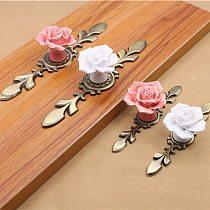 1PCS Rose Flower Pink White Ceramic Alloy Base Door Handles Kitchen Cupboard Closet Drawer Cabinet Knobs Single Hole handle Knob