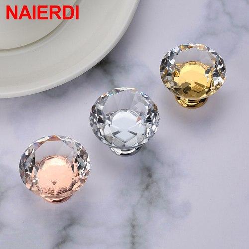 NAIERDI Gold Base Diamond Shape Design Crystal Glass Knobs Cupboard Pulls Drawer Knobs Kitchen Cabinet Handles Furniture Handle