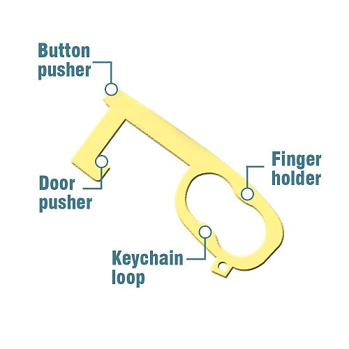Elevator Button Contactless Tool Safety Door Handle Brass Key Grip Safety Protection Isolation No-Touch Anti-bacteria EDC Opener