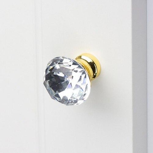 Keenkee Kitchen Furniture Cabinet Door Handles Drawer Handle Cupboard Door Knob Drawer Pull Crystal with Chrome Gold Color