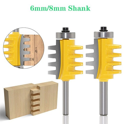 6mm/8mm Shank Rail Reversible Finger Joint Glue Router Bit Cone Tenon Woodwork Milling Cutter Power Tools Wood Router Cutters