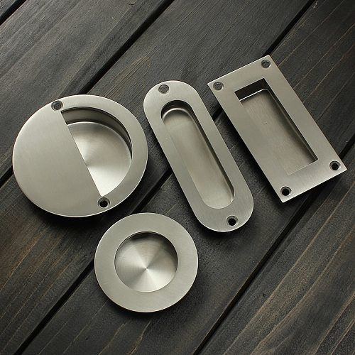 Hot Stainless Steel Door Handle Flush Recessed Pull Circular Oval Rectangular Hardware Drawer Embedded For Home Tools Free Ship