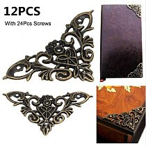 12pc Bronze Furniture Corner Brackets Jewelry Chest Wine Case Box Book Scrapbook Album Corner Protector Decor Furniture Hardware
