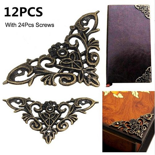 12pc Bronze Furniture Corner Brackets Jewelry Chest Wine Case Box Book Scrapbook Album Corner Protector Decor Furniture Hardware