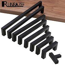 RUNBAZEF Modern Black Cabinet Handle Square Furniture Hardware Stainless Steel Kitchen Door Knobs Cupboard Wardrobe Drawer Pulls