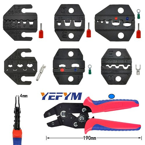 YEFYM SN crimping pliers jaw for most types non-insulation/insulation terminal tools (jaw width 4mm/pliers 190mm)