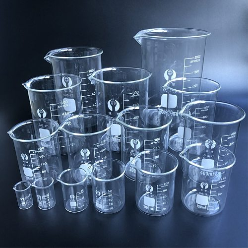 1 set Laboratory Glass Beaker Borosilicate 3.3 Labotatory Measuring Glass kitchen Cup
