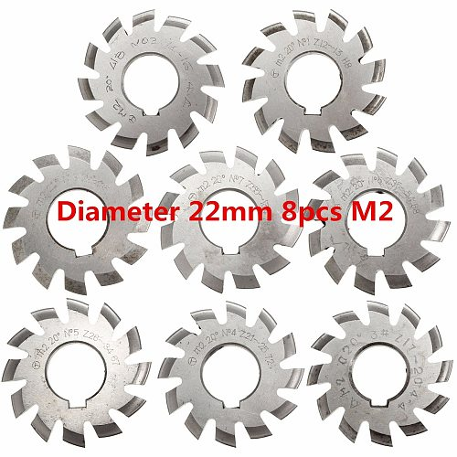 Module 2 M2 PA20 Degrees Bore 22mm #1-8 HSS Involute Gear Milling Cutter High Speed Steel Milling Cutter Gear Cutting Tools