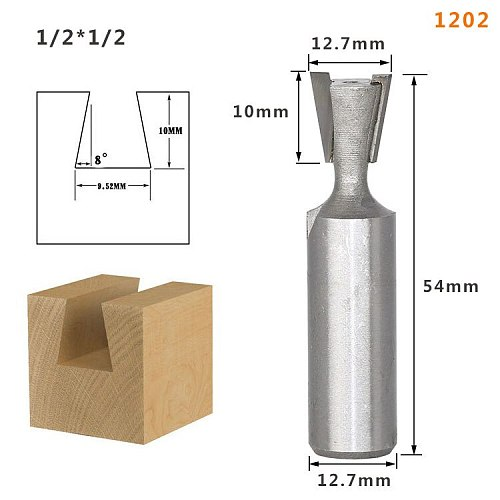 1pc1/4 1/2mm Shank High Quality Industrial Grade Wood Cutter Dovetail Router Bits for wood Tungsten Engraving Tool Milling
