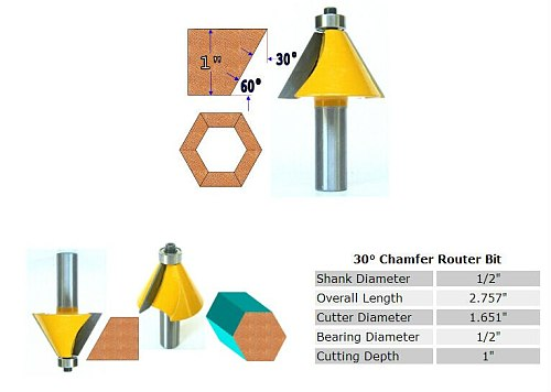 1pc 30 Degree Chamfer & Bevel Edging Router Bit - 1/2  Shank -  woodworking cutter woodworking bits