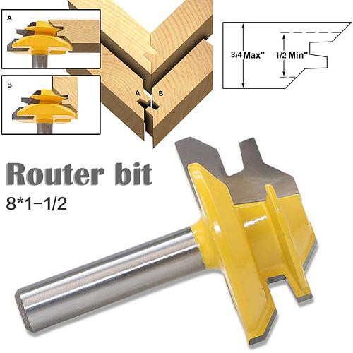 45 Degree Milling Cutter Router Bit Set Wood Cutter Carbide 8mm Shank Mill Woodworking Trimming Straight Carving Cutting Tools