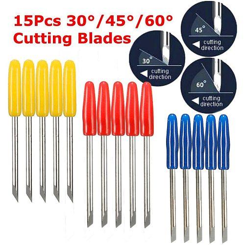 KZTech 15PCS 30 45 60 Degree Vinyl Cutter Blade for Graphtec CB15 CB09 Silhouette Cameo Craftrobo Blades CB15U Cricut CB09U