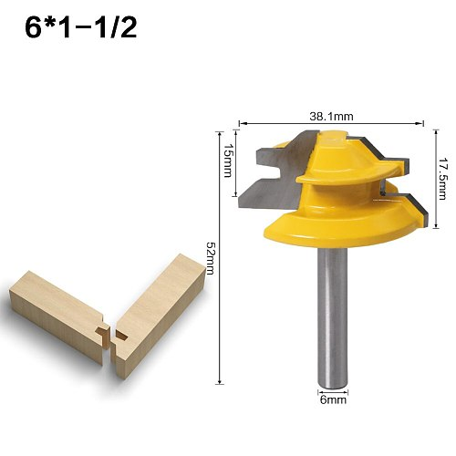 45 Degree - Up to 3/4  Stock Lock Miter Router Bit Tongue and Groove Router Bit Set-6mm Shank