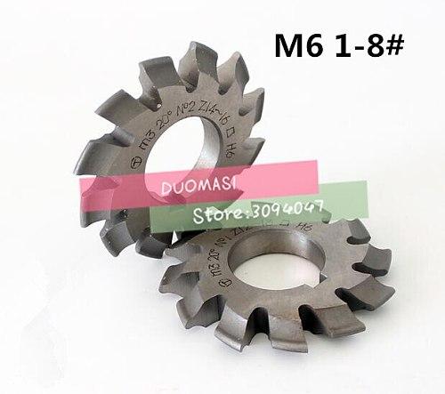 Free shipping 1PCS M6 Modulus PA20 degrees NO.1-NO.8 HSS Gear Milling cutter Gear cutting tools