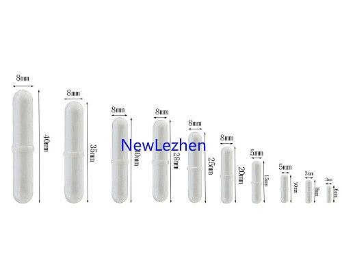 10pcs PTFE Magnetic Stirrer Mixer Stir Bar Spinbar Stirring for Lab Use White Color