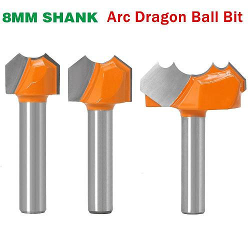 8mm Shank Professional Grade Double Arc Dragon Ball Woodworking Slot Milling Cutter Engraving Tungsten Steel Wood Trimming Bit