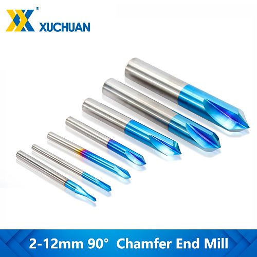 1pc  2 Flutes 90 Degrees Chamfer Mill Tungsten Carbide Chamfering Millling Cutter Nano Blue Coated CNC Router Milling Bit