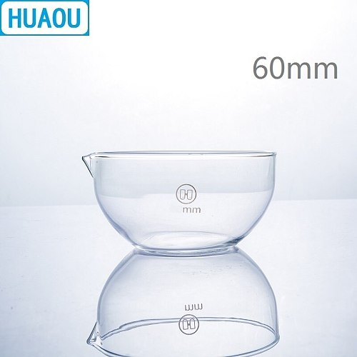 HUAOU 60mm Evaporating Dish Flat Bottom with Spout Borosilicate 3.3 Glass Laboratory Chemistry Equipment