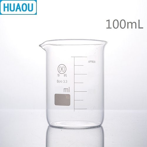 HUAOU 100mL Glass Beaker Low Form Borosilicate 3.3 Glass with Graduation and Spout Measuring Cup Laboratory Chemistry Equipment