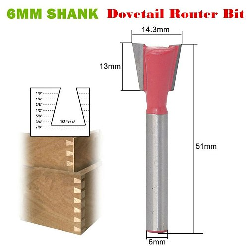 """Top Quality 1pc 6mm Shank 3/8 X 14"""" Dovetail Router Bit Wood Milling Cutter For Woodwork Cutter Power Tools Wholesale Price"""