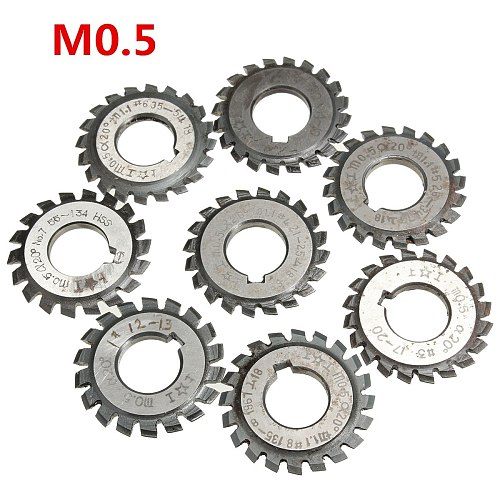 Module 0.5 M0.5 PA20 Degrees Bore 16mm #1-8 HSS Involute Gear Milling Cutter High Speed Steel Milling Cutter Gear Cutting Tools