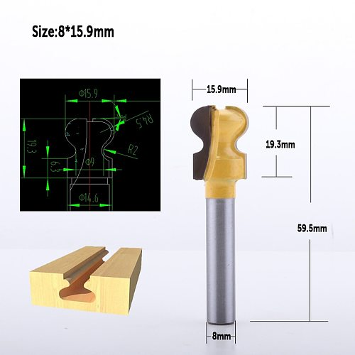 1pc 8mm 1/2  Shank Classical Double Finger Wood Router Bit C3 Carbide Wood Drawer Milling Cutters Woodworking Tools