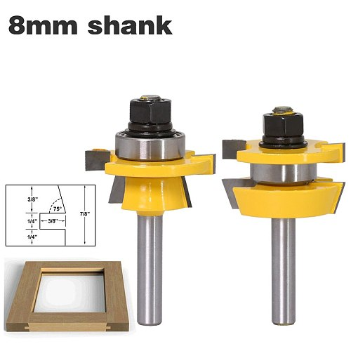 Rail & Stile Router Bit Set - Shaker 2 Pc. 8  Shank door knife Woodworking cutter Tenon Cutter for Woodworking Tools