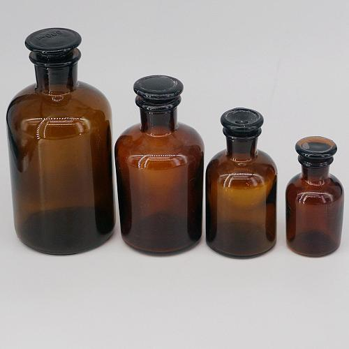 60ml 125ml 250ml 500ml 1000ml 2500ml Brown Glass Narrow Mouth Bottle With Stooper Lab Chemistry Glassware Teaching