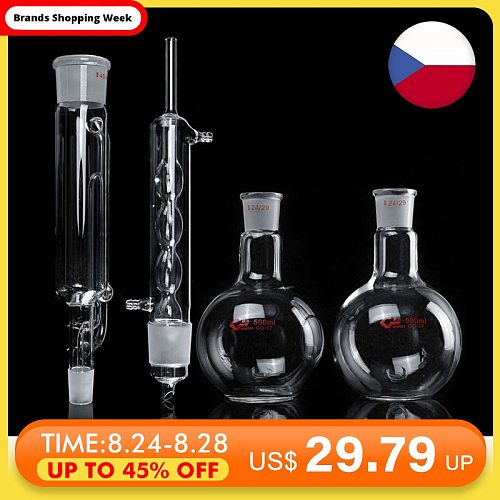 4Pcs/set 500ml Lab Glass Soxhlet Extractor Condenser Set with Two 24/29 Flat Bottom Flask 305MM 45/40 Tube Lab Glassware Kit