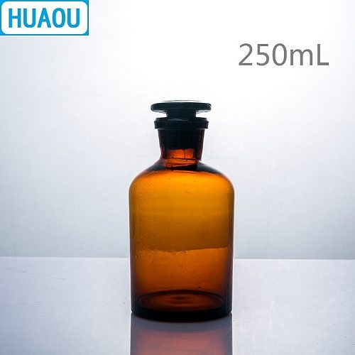 HUAOU 250mL Narrow Mouth Reagent Bottle Brown Amber Glass with Ground in Glass Stopper Laboratory Chemistry Equipment