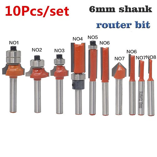 10pcs/set 6mm Shank Milling Cutter Wood Router Bit Set Straight End Mill Trimmer Cleaning Flush Trim Corner Round Cove Box Bits