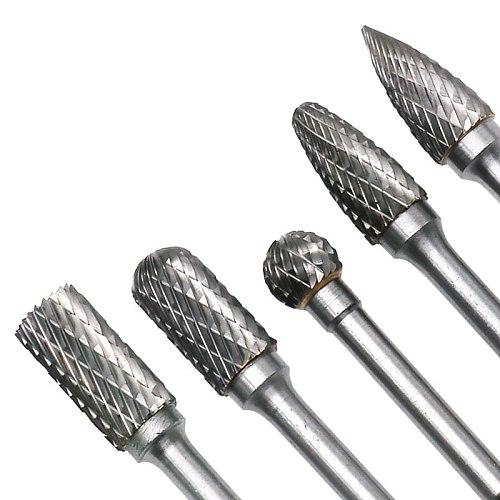 5pcs/set Assorted 12mm Head Tungsten Carbide Rotary Point Burr Die Grinder Bit 6mm Shank Milling Cutter Abrasive Tools