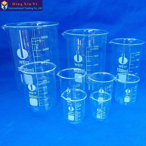 Low Form Beaker Chemistry Laboratory Borosilicate Glass Transparent Beaker Thickened with spout 50-3000ml