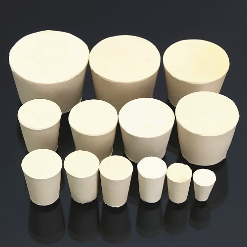Laboratory Rubber Plug Bungs Flask Tapered Tube Solid White Alkali-resisting Lab Push-In Sealing Plug