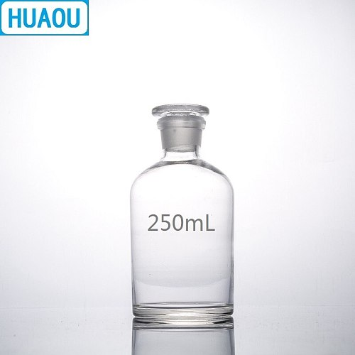 HUAOU 250mL Narrow Mouth Reagent Bottle Transparent Clear Glass with Ground in Glass Stopper Laboratory Chemistry Equipment