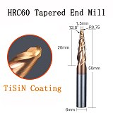 HRC62 Solid Carbide Ball Nose Tapered End Mills cnc carving bit engraving Router Bits Taper Wood Metal Milling cutters endmill