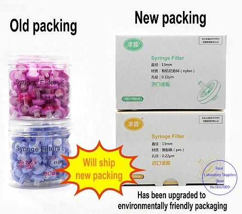 100pcs/lot Lab 13mm 25mm material Nylon / PES / PTFE / MCE / Fiber glass Millipore Membrane Syringe filter 0.22/0.45um pore size