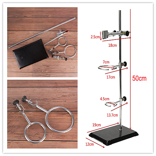 1 Set High Retort Stand Iron Stand 50CM With Clamp Clip Laboratory Ring Stand School Education Supplies Educational Equipment