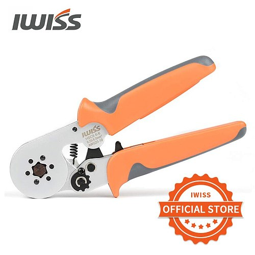 IWISS Hexagonal Crimper Plier HSC8 6-6A Self-adjustable Crimping Tools Used for AWG 23-10 (0.25-6.0mm2) Cable end-sleeves